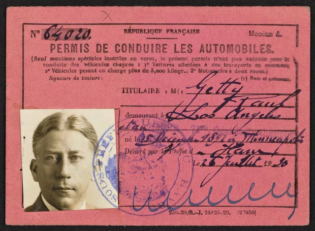 J. Paul Getty's French Driving Permit, 1930. J. Paul Getty Family Collected Papers, The Getty Research Institute, 2010.IA.17