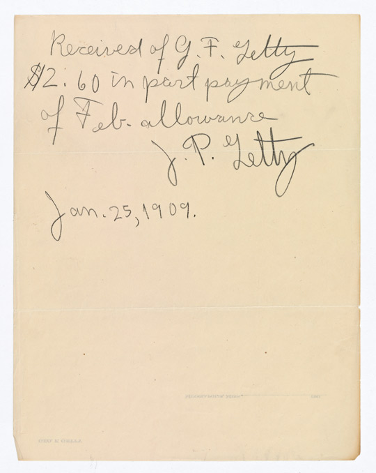 Receipt for Allowance Signed by J. Paul Getty, January 25, 1909. J. Paul Getty Family Collected Papers, The Getty Research Institute, 2010.IA.17