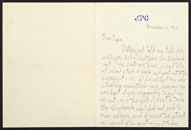 Letter from J. Paul Getty to Father in Defense of Driving Car Without Permission (front), December 6, 1910
