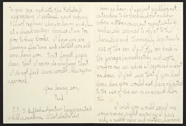Letter from J. Paul Getty to Father in Defense of Driving Car Without Permission (back), December 6, 1910