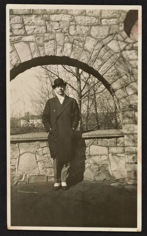 J. Paul Getty in Bowler and Spats, around the 1920s or 1930s. J. Paul Getty Family Collected Papers, The Getty Research Institute, 2010.IA.17