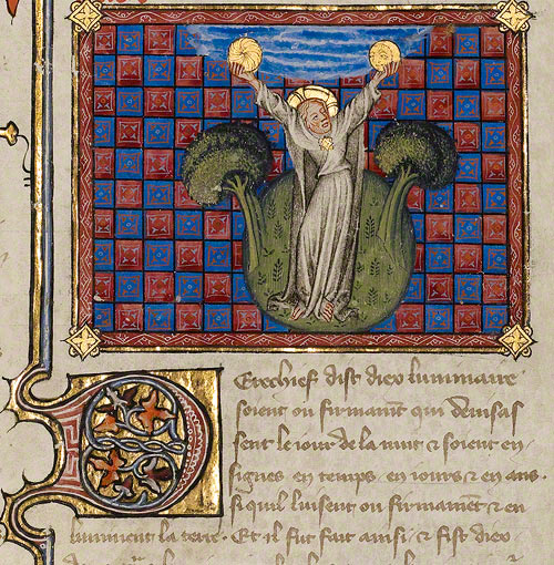 The Creation of the Sun and the Moon / Master of Jean de Mandeville