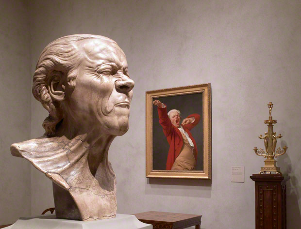 The Vexed Man in the installation of Neoclassical, Romantic, and Symbolist Sculpture and Decorative Arts in the Getty Center's West Pavilion
