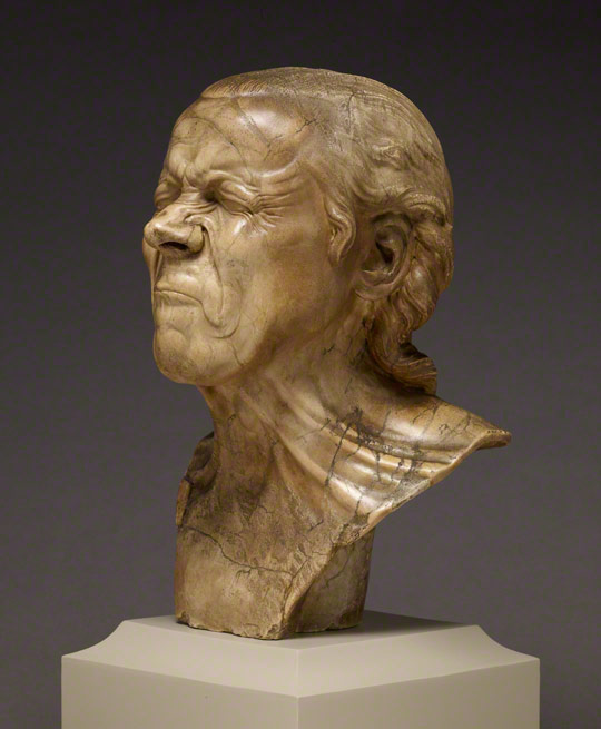 <em>The Vexed Man</em>, Franz Xaver Messerschmidt, 1771–83. Alabaster, 16 9/16 in. high