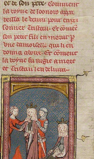 Middle French text in <em>Tristan's Stepmother Lamenting Her Dead Son</em> (detail), unknown illuminator, in <em>The Romance of Tristan of Léonois</em> (<em>Le roman de Tristan de Léonois</em>), Paris, about 1320–40. The J. Paul Getty Museum, Ms. Ludwig XV 5, fol. 37