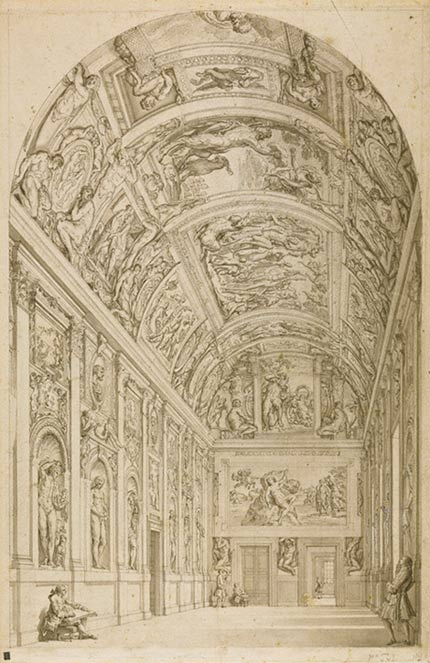 <em>View of the Farnese Gallery, Rome</em>, Francesco Panini, about 1775. Pen and black ink and gray wash over black chalk. The J. Paul Getty Museum, 92.GG.16