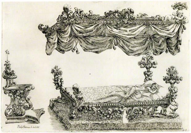 <em>Design for a State Bed</em>, Filippo Passarini, engraving in Nuove invenzioni d'ornamenti d'architettura e d'intagli diversi utili ad argentieri intagliatori ricamatori et altri professori delle buone arte del disegno, 1698, pl. 29. The Getty Research Institute