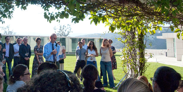 Getty Research Institute visiting scholars on the GRI's West Terrace