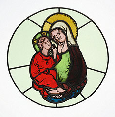 The Virgin and Child, Master of Klosterneuburg, about 1335. Pot-metal and clear glass with vitreous paint and silver stain, 14 1/8 in. high. The J. Paul Getty Museum, 2003.32