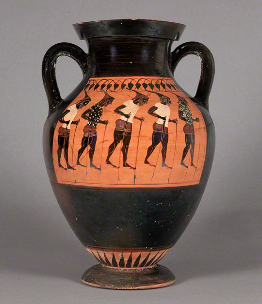 Storage Jar with a Chorus of Stilt Walkers, black-figured amphora attributed to the Swing Painter, Greek (Attic), active about 550-525 B.C. Terracotta, 16 1/8 x 11 7/16 in. (41 x 29 cm). James Logie Memorial Collection, University of Canterbury