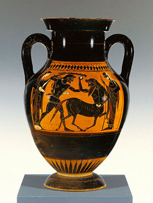 Storage Jar with Herakles Attacking a Centaur, Greek, Athens, about 530–520 B.C. The J. Paul Getty Museum