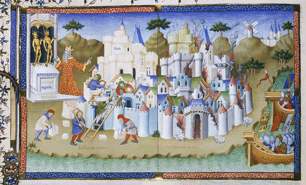 The Construction and Destruction of Troy, Orosius Master, Paris, 1405-6. In City of God (Cit de Dieu; original text in Latin); Saint Augustine, author; Raoul de Presles, translator. The Philip S. Collins Collection, gift of Mrs. Philip S. Collins in memory of her husband, 1945. Philadelphia Museum of Art, Philadelphia, Pennsylvania, Ms. 1945.65.1, fol. 66v