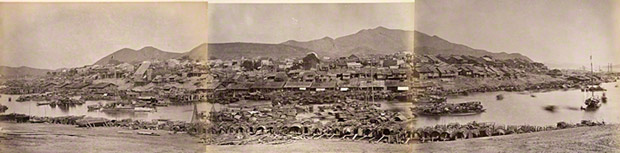 <em>General View of Wuzhou</em>, 1860s, Lai Afong (Chinese, 1839–1890), albumen silver print. The Getty Research Institute, 2003.R.22.37