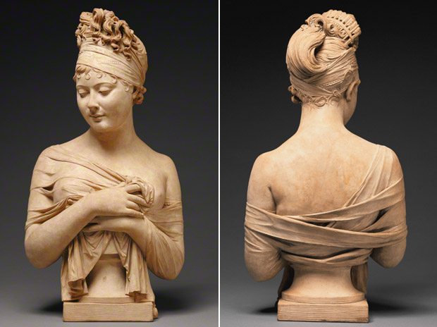 <em>Bust of Madame Recamier</em>, Joseph Chinard, about 1801–1802. Terracotta, 24 7/8 in. high. The J. Paul Getty Museum, 88.SC.42