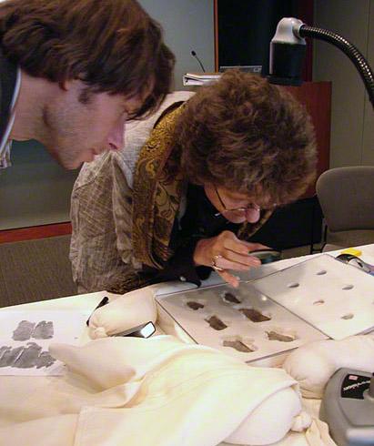 Jens Daehner and Sarah Morris looking at the Getty Hexameters
