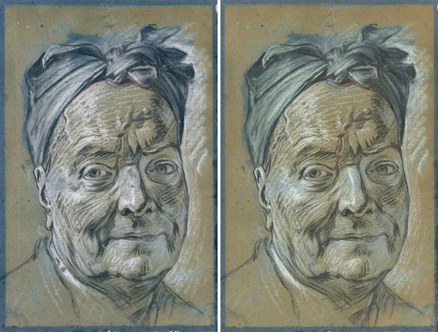 Portrait of Louis de Silvestre before and after conservation