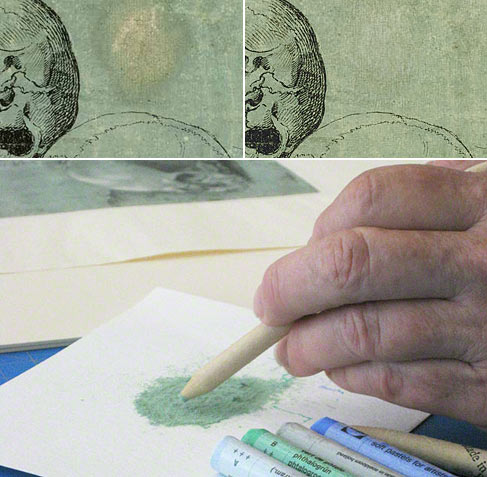 Working on Study of Three Skulls. At top left, the disfiguring oil stain; at top right, the same area of the sheet after the pastel application.