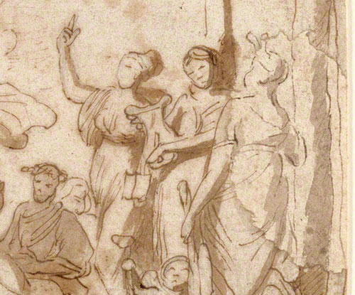 Detail from Apollo and the Muses on Mount Parnassus showing a figure added by a restorer.