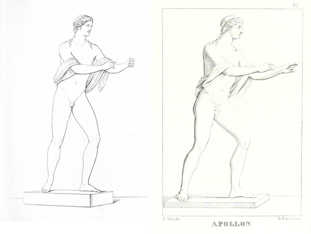 19th-century views of the Apollo. Left: <em>The Restored Statue of Apollo</em>, Engraving in Raffaele Gargiulo, <em>Raccolta de Monumenti più interessanti del Re. Museo Borbonico . . .</em>, Naples, 1825. The Getty Research Institute, 85-B19893. Right: <em>The Restored Statue of Apollo</em>, after F. Mori, engraving in Domenico Monaco, <em>Les monuments du Musée National de Naples</em>, Naples, 1879. The Getty Research Institute, 2573-379