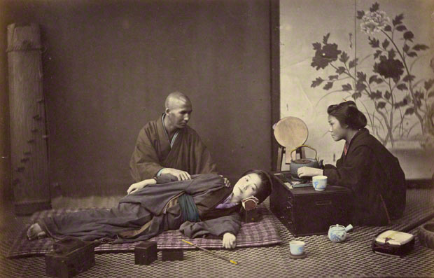 <em>Mode of Shampooing</em>, Felice Beato, 1866–67. Hand-colored albumen silver print in Views of Japan, (1868), 7 1/16 x 11 in. The J. Paul Getty Museum, 84.XO.613.33