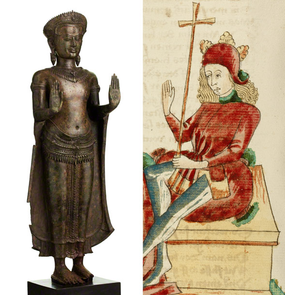 Left: Crowned Buddha, Cambodian, Angkor period, 1100s, bronze. National Museum of Cambodia, Phnom Penh. Right: King Avenir and Josaphat in Conversation (detail) in Barlaam and Josaphat, Follower of Hans Schilling, 1469. The J. Paul Getty Museum, MS. LUDWIG XV 9, fol. 320v