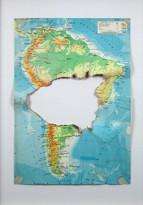<em>Mapa quemado/Burned Map</em>, Horacio Zabala (Argentinian, b. 1943), 1974, mixed media on printed map. Courtesy of the artist and Henrique Faria Fine Art, New York