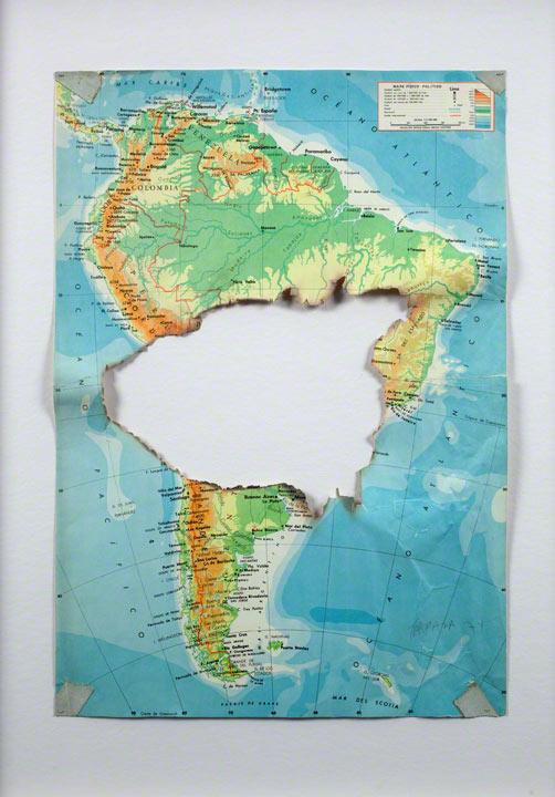 <em>Mapa quemado/Burned Map</em>, Horacio Zabala (Argentinian, b. 1943), 1974, mixed media on printed map. Courtesy of the artist and Henrique Faria Fine Art, New York