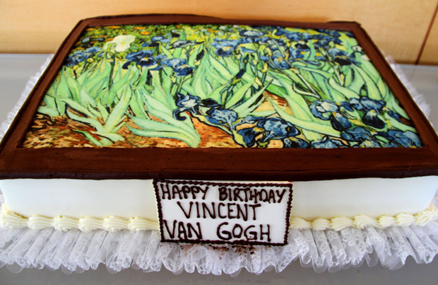 Birthday cake for Vincent van Gogh's birthday decorated with The Irises in icing