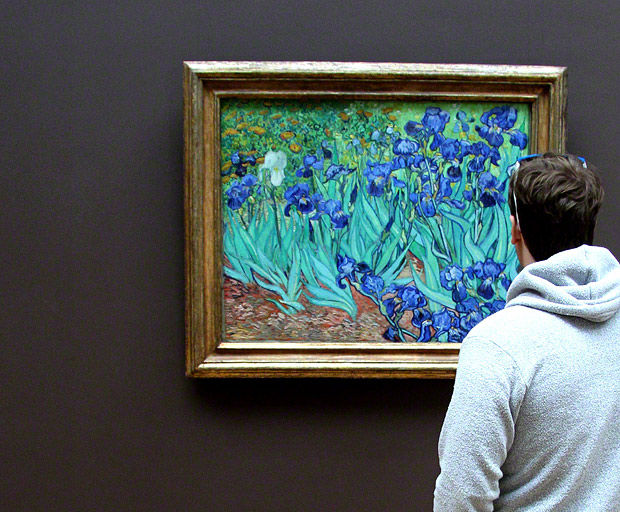 A visitor contemplates Van Gogh&#039;s Irises in the galleries of the J. Paul Getty Museum at the Getty Center