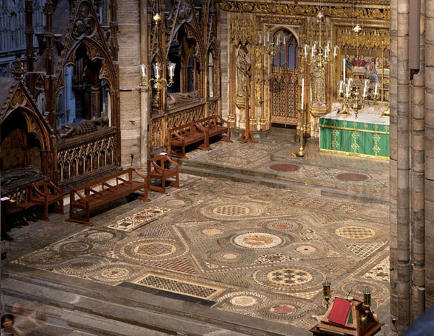 A view of the completed Cosmati pavement from the Muniments room. Courtesy of Westminster Abbey.
