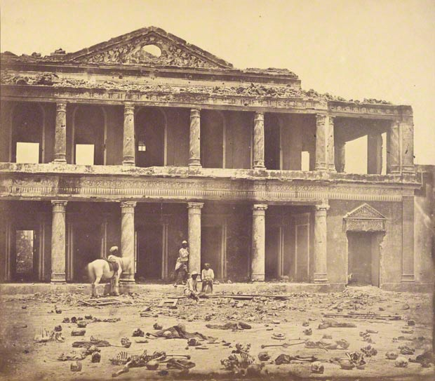 Interior of the Secundrabagh after the Slaughter of 2,000 Rebels, Felice Beato, 1858. Partial Gift from the Wilson Centre for Photography. The J. Paul Getty Museum, 2007.26.208.7