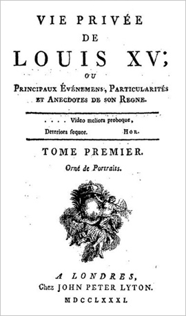Title page of La Vie Privee de Louis XV, volume 1