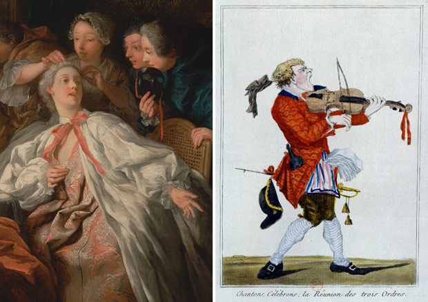Paris, inside and outside. Left: <em>Before the Ball</em> (detail), Jean-François de Troy, 1735. The J. Paul Getty Museum. Right: A Parisian street singer, 1789. Bibliothèque nationale de France, Département des Estampes