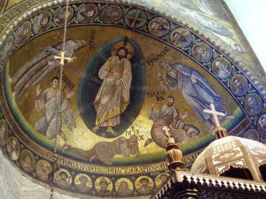 Mosaic of the Transfiguration in the basilica of the Holy Monastery of Saint Catherine, Sinai. Photo: Robert S. Nelson