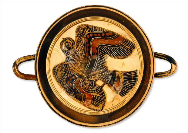 A Homeric omen: A Greek wine Cup featuring a scene of an eagle battling a snake, made about 530 B.C.