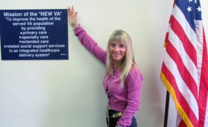 Carrie Brandlin with the mision statement of the VA Greater Los Angeles Healthcare System