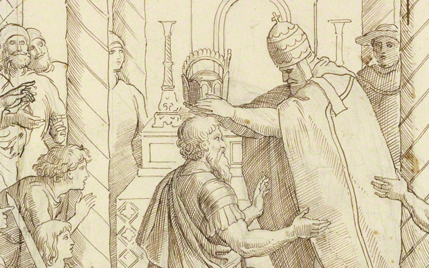 <em>The Coronation of Charlemagne</em>, Julius Schnorr von Carolsfeld, 1840. Brown ink over graphite on paper. The J. Paul Getty Museum, 2009.5
