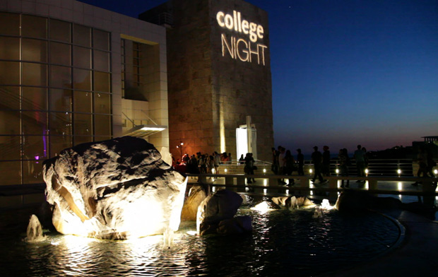 College Night 2011 at the Getty Center -- projection on Museum wall