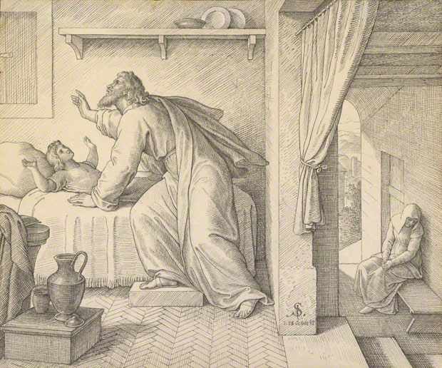 <em>Elijah Revives the Son of the Widow of Zarephath</em>, Julius Schnorr von Carolsfeld, 1842. Black ink on paper. The J. Paul Getty Museum, 2009.13