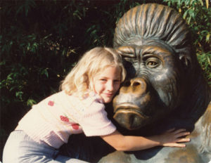Me, giving a sculpture a gorilla hug in the 1970s