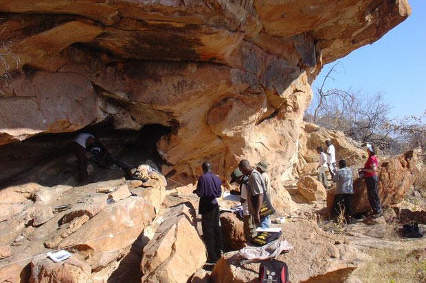 Participants in a Getty Conservation Institute workshop on rock art site management, presentation, and interpretation in Mapungubwe National Park, South Africa, a World Heritage Site.