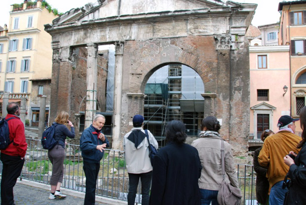 Participants in the 17th International Stone Conservation Course on a walking tour with Dr. Jukka Jokileheto, discussing the evolution of conservation practice in Rome