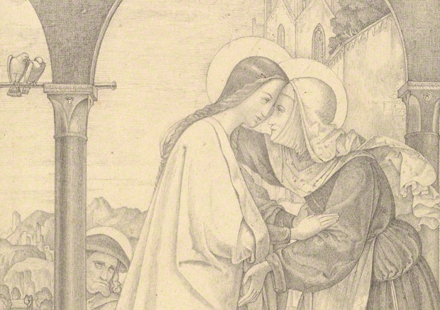 <em>The Visitation</em> (detail), Theodor Rehbenitz, 1820. Graphite on paper. The J. Paul Getty Museum, 2009.70