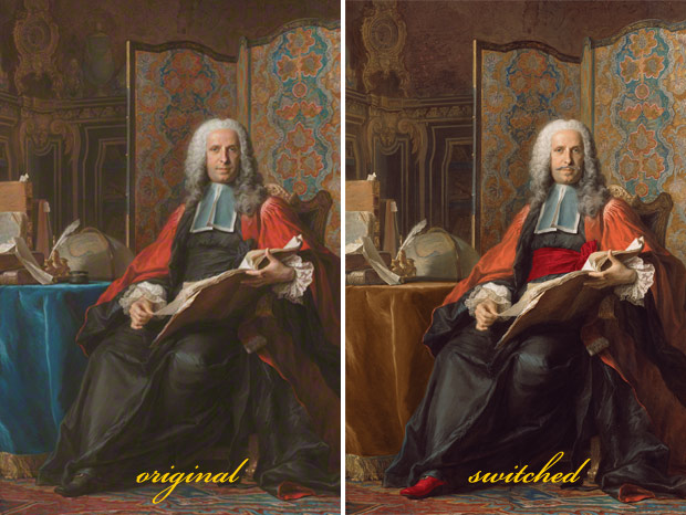 Find the six things that are different in this portrait of Gabriel Bernard de Rieux created by Maurice-Quentin de La Tour about 1739–41