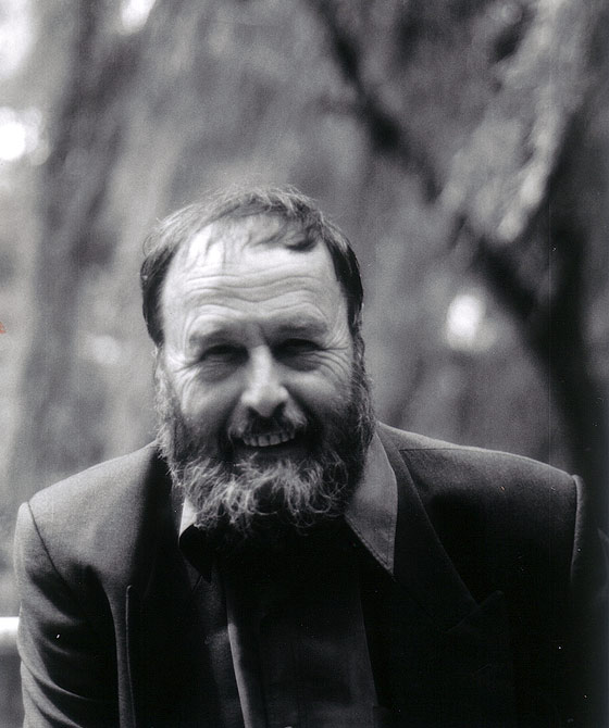 Black and white portrait photograph of Harald Szeemann