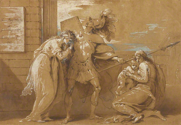 <em>The Fright of Astyanax (Hector Bidding Farewell to Andromache)</em>, Benjamin West, 1797. The J. Paul Getty Museum, 84.GG.722