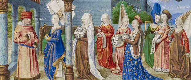 The seven liberal arts in their educated best: detail from an illumination in a French manuscript of Boethius's <em>Consolation of Philosophy</em>, attributed to the Coëtivy Master, about 1460–70