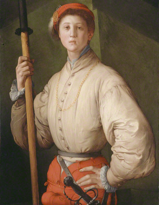 <em>Portrait of a Halberdier (Francesco Guardi?)</em>, Pontormo, 1528–30. The J. Paul Getty Museum, 89.PA.49