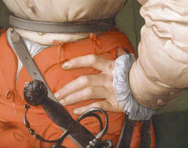 Detail of hand on hip in Portrait of a Halberdier / Pontormo
