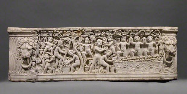 Sarcophagus representing a Dionysiac Vintage Festival, Roman, Roman, A.D. 290–300. The J. Paul Getty Museum, 2008.14